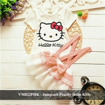 setelan dress kaos anak Overall baju kodeok rok tutu murah VM82JPHK Jumpsuit Peachy Hello Kitty fit 2 4 tahun