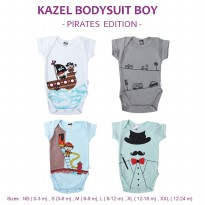 Kazel Bodysuit/ Jumper Bayi Motif Pirates Edition Isi 4 | Size 0 - 2y