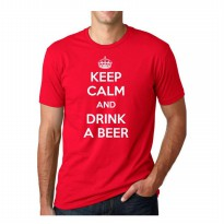 [JersiClothing] T-Shirt Keep Calm And Drink A Beer Velvet/Flock Print Timbul - Merah
