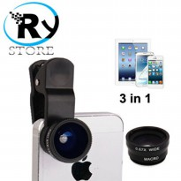 (Termurah) Universal fish eye 3 in 1 Clip Lens 180 Degree + 0.67x Wide Angle + Macro Lens - Black