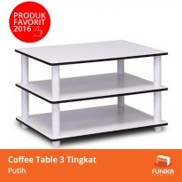 FUNIKA 11173 WH(Ex)/WH - Coffee Table Putih 3 Tingkat - Putih