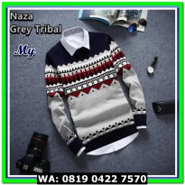 (Sweater) NAZA GREY TRIBAL