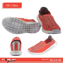 Merlin shoes-casual sneaker import-breathable-sepatu flyknit 001 Coral