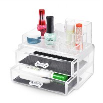 Transparant Acrylic Jewelry Storage Box 2 Layers Drawer Set - Tempat kosmetik akrilik
