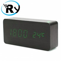 (Termurah) LED Digital Wood Clock - JK-858 - Black