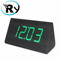 (Termurah) LED Digital Wood Clock - JK-828 - Black Green