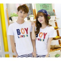 Kaos Couple / Baju Pasangan / Soulmate boy London Putih / katun