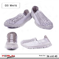 Merlin shoes-casual sneaker import-breathable-sepatu flyknit 001 White