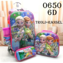 DJ fashion Tas Troli Anak 6D Ransel 4 In 1 - Frozen