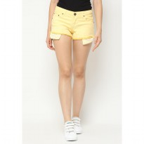 Mobile Power Ladies Ombre One Color Short Pants Fringe Finishing - Yellow L5536