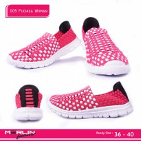 Merlin shoes-casual sneaker import-breathable-sepatu flyknit 005 Fuchsia Woman