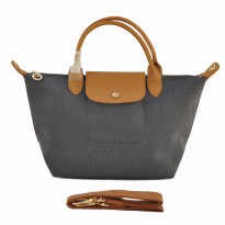 TAS BRANDED WANITA LONGCHAMP NEO TOILE SMALL SIZE - GREY