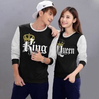 Baju Hoodie Couple Sweater Kaos Pasangan Kopel Kapel Kembar Murah King Queen Hitam