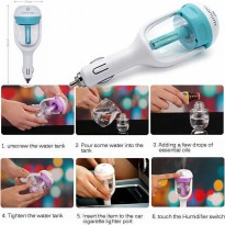 Spray Parfum Penyebar Aroma Mobil Biru 12V Blue Mini Car Steam Humidifier Air Essential Oil Diffuser