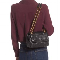 Authentic TB Fleming Claret Small Soft Wine Leather Crossbody Bag