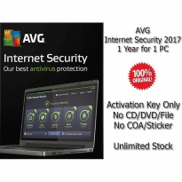 AVG Internet Security 2017 - 1 Year for 1 PC - Genuine