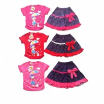 SETELAN BAJU ROK ANAK SUN SHINE - MOTIF GIRL WITH UMBRELLA - BEST BUY