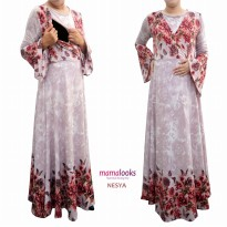 Gamis Hamil Menyusui Mamalooks NESYA Pink Size L fit to XL