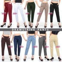 [2 Size] WOMEN DRAWSTRING PANTS / FIT TO L-XXL / Celana Basic / Formal / Casual