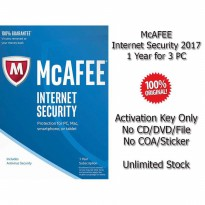 McAFEE Internet Security 2017 - 1 Year for 3 PC - Genuine