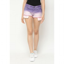 Mobile Power Ladies Ombre Two Color Short Pants Fringe Finishing - Purple Light Pink L5546