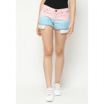 Mobile Power Ladies Ombre Two Color Short Pants Fringe Finishing -  Light Pink Blue L5542