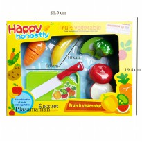Happy Honestly 666s-2 Fruit & Vegetable - Mainan Buah & Sayur Potong 6Pcs - Ages 3+