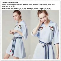 Mini Dress Kemeja Biru Blue Bird Santai Baju Wanita Korea Import Belt Terbaru 2018 / AME252