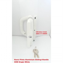 Kunci Pintu Aluminium Sliding+Handle SHB Single White