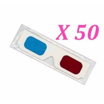 [macyskorea] OPlaza Disposable 50 X Paper Red/cyan Lenses 3d Glasses Direct-clip on 3d Gla/16430674