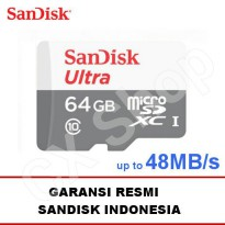 Sandisk Ultra Micro SD class 10 64GB 48MB/s microSDXC (no adapter) - Garansi Resmi SanDisk Indonesia