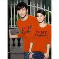 Baju Couple Lengan Panjang / Kaos pasangan / Kopel I love My boy friend / I love My girl friend orange