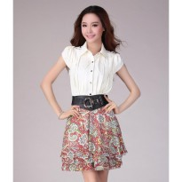 Tamochi Chiffon Floral Dress Import DS4110 White