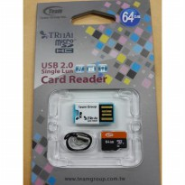 Memory Micro Sd Team 64GB + Usb Card reader