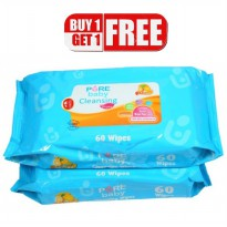 PURE BABY CLEANSING WIPES 60 SHEETS LEMON BLUE BUY 1 GET 1 FREE