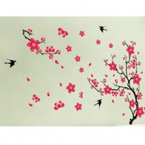 Wall sticker Red Sakura Birds 90 x 60 cm