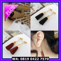 (Murah) Anting Import Korea Model Tassel Pendek Bahan Bludru Tersedia
