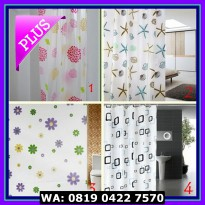 (Diskon) Tirai Kamar Mandi Shower Curtain 180x200 cm Motif Anti Air