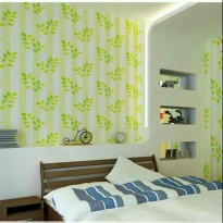 WALLPAPER STICKER 10m Motif Garis Garis Daun