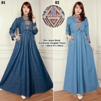 Dress maxy jeans gamis kaftan wanita jumbo long dress Lailina
