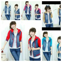 JAKET CEWE ROSIE 3 WARNA JEANS WASH COMBI BABYTERRY FIT TO XL