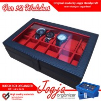 Black Red Watch Box For 12 Pcs Watches | Kotak Tempat Jam Tangan Isi 12
