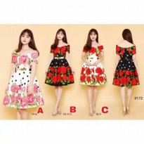 dress wanita model sabrina motif rose import