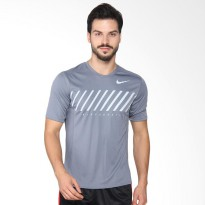 NIKE As Men Dry Miler Top Ss Ssnl Pakaian Lari Pria - Grey 856881-497