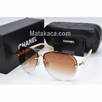 Kacamata Sunglass Chanel Mutiara Cream