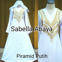 abaya bordir piramid putih