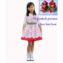 FREE HAIR BOW ~Cutevina~ Amour Lace Girl Red Dress (6-8 th) AM3094