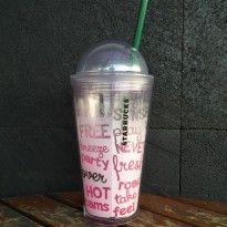 Starbucks Tumbler Ice Cold Cup Pink Letter Word Limited Edition