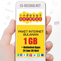 PROMO Indosat Paket Data KUOTA 1GB (3G/4G)+Unlimited Apps 24jam, 30hari