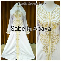 abaya bordir crown putih
